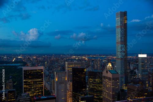 Poster New York von oben bei Nacht