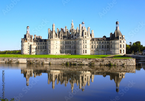 Poster Chateau Chambord castle with reflection, Loire Valley, France