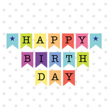 Birthday bunting with colorful design vector illustration. EPS 10 & HI-RES JPG Included