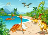 Fototapety Dinosaurs living on the beach