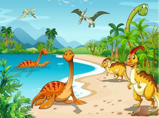 Dinosaurs living on the beach © GraphicsRF