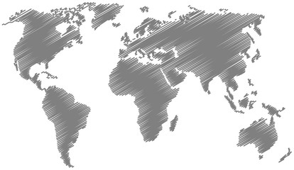 World Map with Scribble Effect in Gray Color