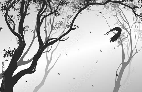 landscape with a flying owl © kozerog2015
