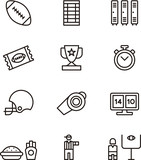 AMERICAN FOOTBALL set of outline icons
