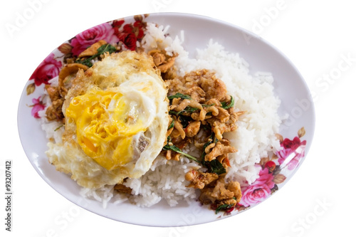 ... Stir-fried minced pork with holy basil and steamed rice (Thai food