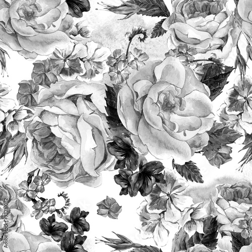 Floral Monochrome Vintage Seamless Pattern, watercolor illustrat - 93210082