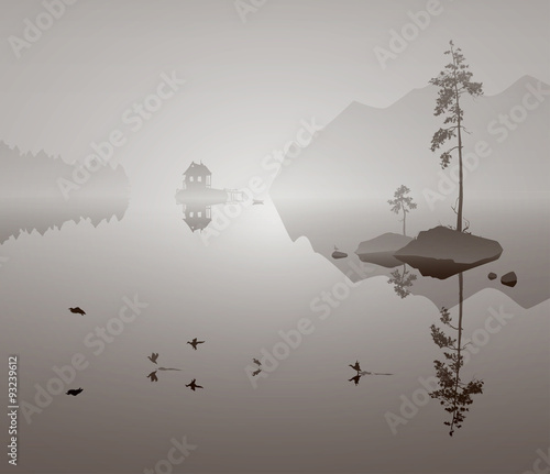 landscape with lake - 93239612