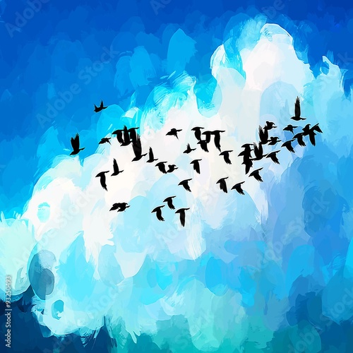 Free birds brush strokes background.  - 93250493