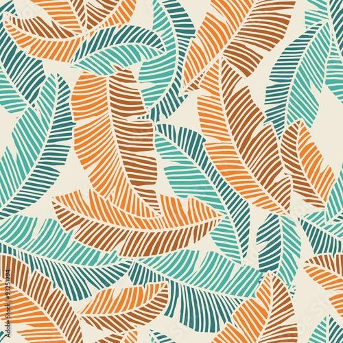Cotton fabric banana leaves pattern