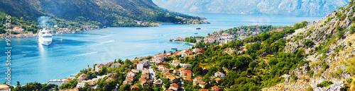Aluminium Aerial view of Bay of Kotor, Montenegro. Giant cruise liner in Boka Kotorska