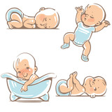 Fototapety Set with cute baby boys 0-12 months. Various poses. First year activities. Sleeping positions, on stomach, on back, legs in hands. Swimming in bath. Vector Illustration isolated on white background