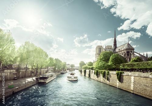 Poster Seine and Notre Dame de Paris, Paris, France