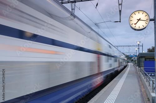 In de dag Train station in Richterswil, Switerland