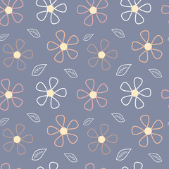abstract cute daisy flowers floral seamless vector pattern background illustration