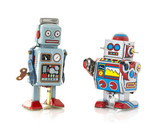 Two Retro Tin Robot on a White Background