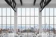Modern workplaces in a modern bright clean interior of a loft style office. Huge windows with New York panoramic view. Black desks equipped with laptops, brown leather chairs. 3D rendering.