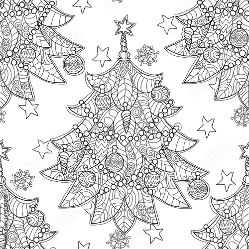 Materiał do szycia Merry Christmas zentangle fir tree doodle . Hand drawn vector background with Christmas decorations, Christmas tree, ball, star and snowflakes.