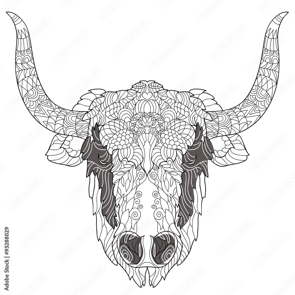 Coloring pages yak - Yak Head Doodle Black Nose Illustration Sketch For Tattoo Or Coloring Book Animal Wall Sticker