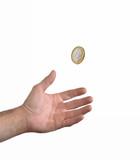 Mano recibiendo dinero, monedas de Euro.Concepto de dinero,pago.