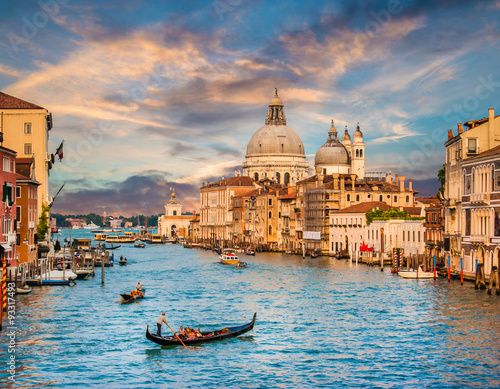 Poster Canal Grande with Santa Maria Della Salute at sunset, Venice, Italy