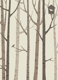 decorative silhouettes of trees with a bird and birdhouse