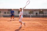 Fototapety boy practicing tennis