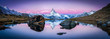 Leinwanddruck Bild - Stellisee in der Schweiz mit Matterhorn im Hintergrund Panorama