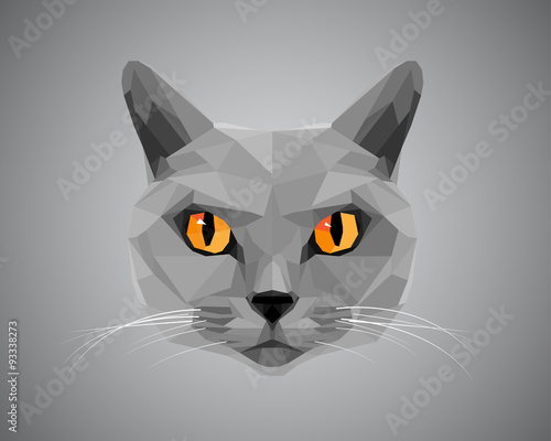 Grey cat with orange eyes - polygonal style.
