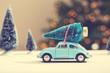 Obrazy na płótnie, fototapety, zdjęcia, fotoobrazy drukowane : Car carrying a Christmas tree