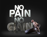 Athletic young man lifting a tire on the black background Motivational fitness phrases poster