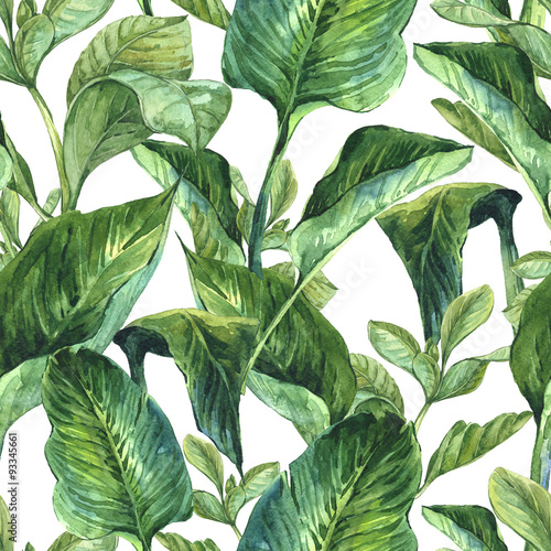 Cotton fabric Watercolor Seamless Background with Tropical Leaves