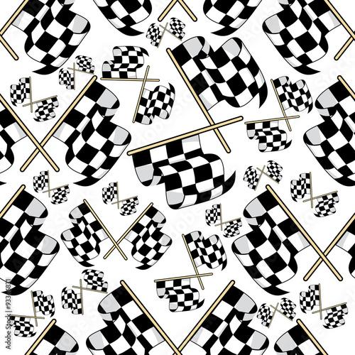 Materiał do szycia Seamless pattern of motor racing flags