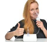 Young woman using nebulizer mask for respiratory inhaler Asthma poster