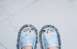 feet in quirky slippers that are also a mop, stuff you buy online poster