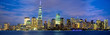 Lower Manhattan skyline panorama at dusk, New York