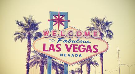 Retro vintage toned Welcome To Las Vegas Sign, USA.