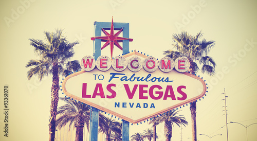 Plexiglas Las Vegas Retro vintage toned Welcome To Las Vegas Sign, USA.