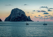 Picturesque sunset over mysterious island of Es Vedra. Ibiza