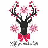 Reindeer. Love, hearts, snow. All you need is love.