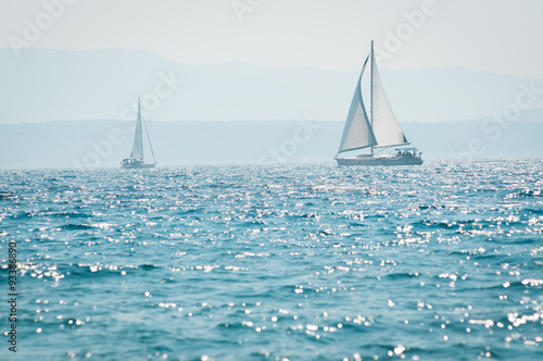 Sailing yacht on the sea Poster