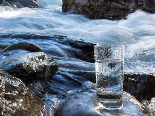 Fotobehang Bergrivier Natural water in a glass