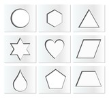 Template for simple geometric shapes with inner shadow - circle, hexagon, triangle, star, heart, drop, pentagon, trapezoid, rhomboid. Nine isolated paper cut blocks. poster