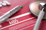 AIDS. Medical Concept on Red Background.