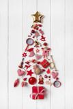 Fototapety Roter Weihnachtsbaum auf Holz