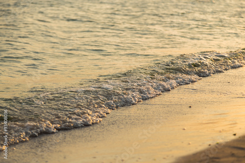 Foto op Aluminium Strand Landscape photo on the beach. A beautiful desert nature. The sandy beach and endless blue sea. Photo for Natural magazines, posters and websites.