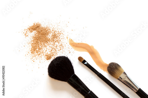 Makeup foundation and brushes