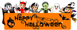 Happy Halloween Banner with kids in costume