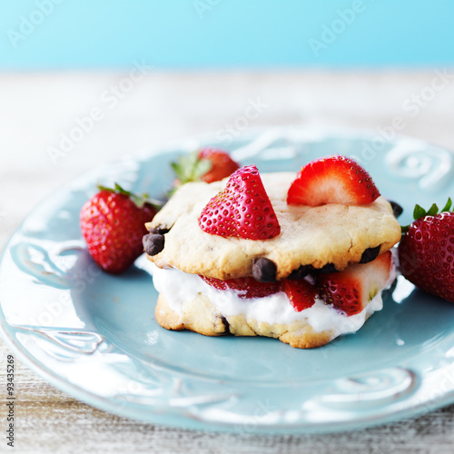 "strawberry chocolate chip cookie sandwich with whipped cream"" photo ..."