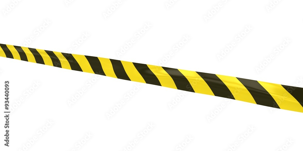Yellow and black striped hazard tape line at angle wall sticker