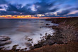 Rocky sunrise. Magnificent sunrise view in the blue hour at the Black sea coast, Bulgaria